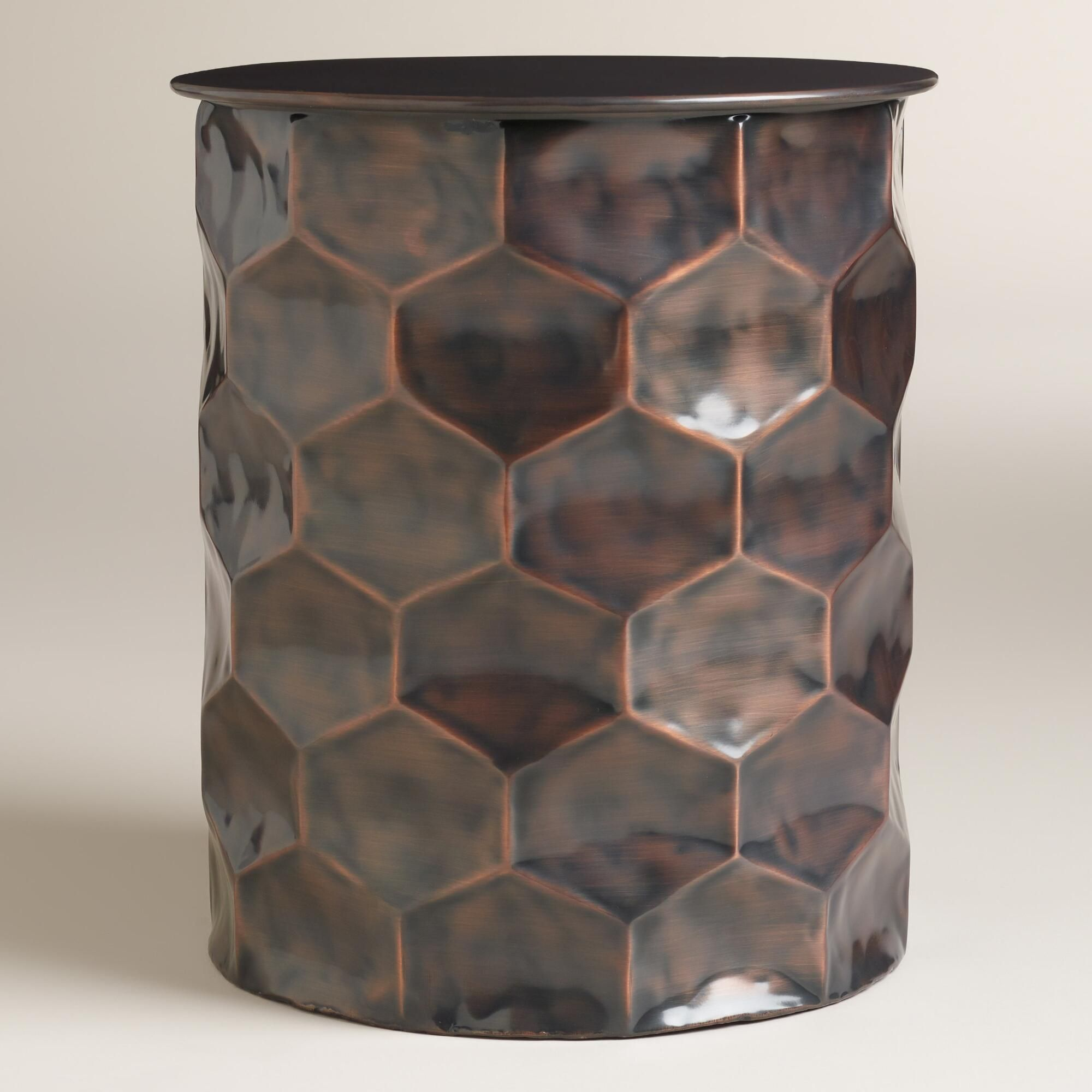 Metal Rani Drum Accent Table Drum table Drums and Honeycombs
