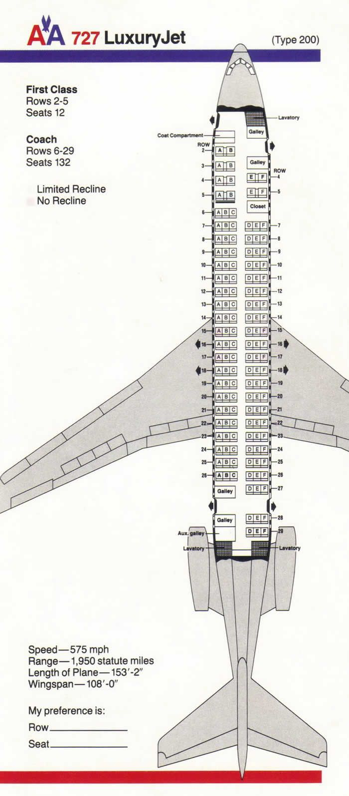 AA BOEING 727 | Airline Seating Charts | Boeing aircraft