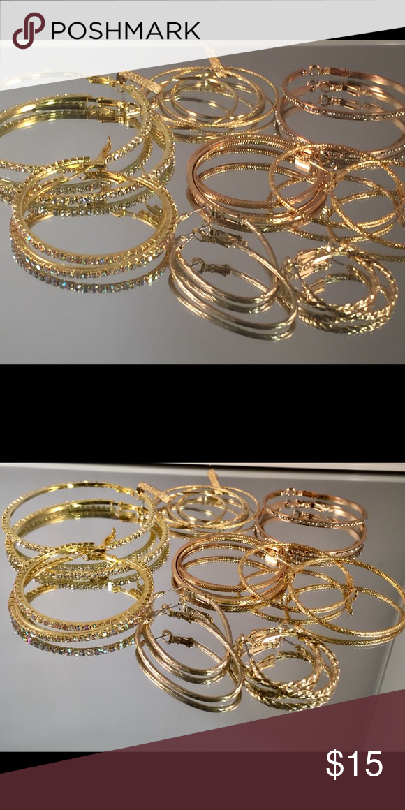 Sold 8 mixed size hoop earring. All New Boutique Hoop