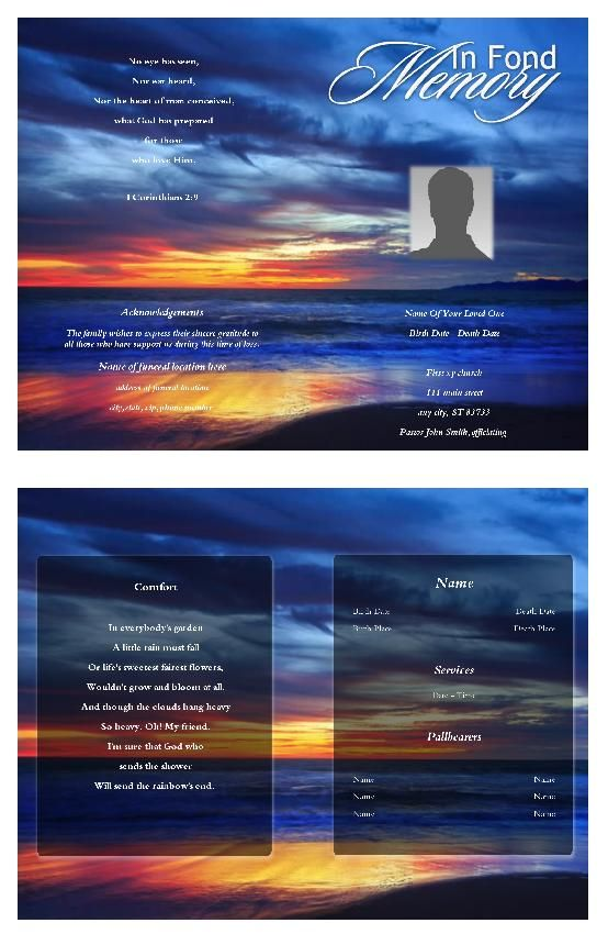 Create funeral program using funeral template Select Size, Pages - free funeral template