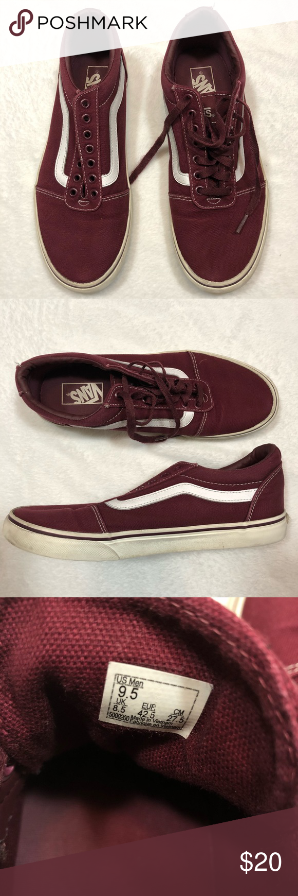 f0189230ea2d58 Vans maroon classic low mens 9.5 womens 11 shoes Vans Men s size 9.5  women s size 11 Maroon with classic white stripe Missing one shoe lace and  light wear ...