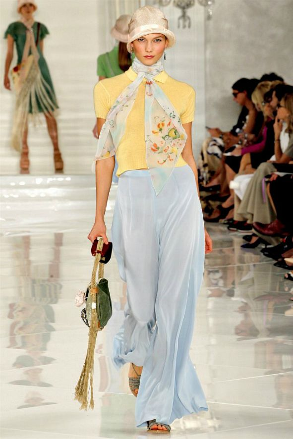 Women 39 S Fashion Trends 1920 39 S Style Charmeuse Wide Pants Cloche Hat Ralph Lauren Spring 2012
