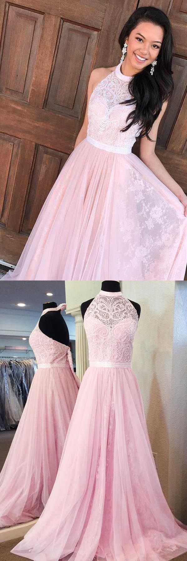 elegant halter prom party dresses, pink evening gowns with appliques ...