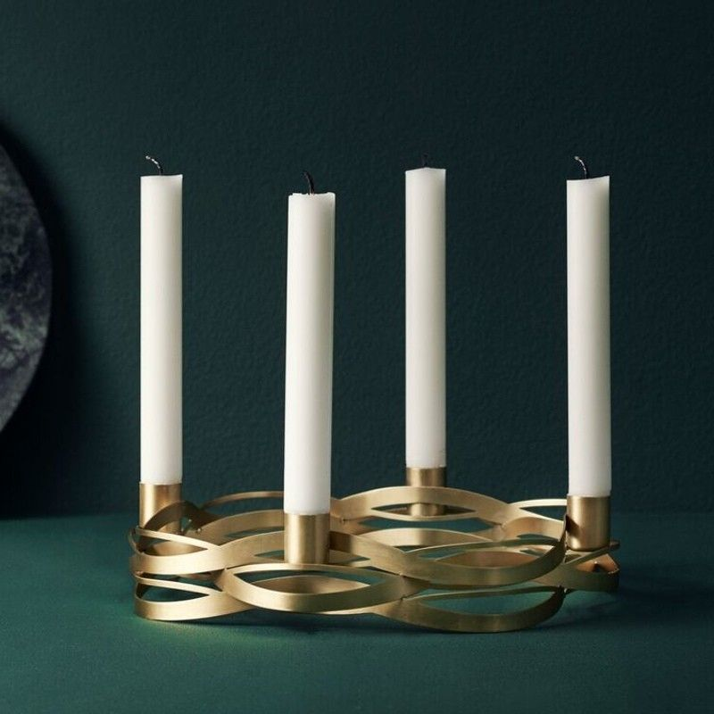 Stelton Tangle Advent Candle Holder Brushed Brass Advent Candle Holder Candle Holders Scandinavian Candles