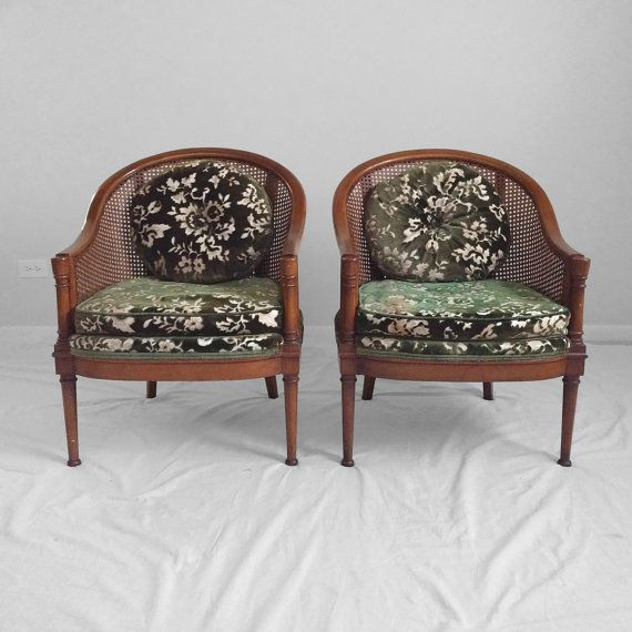 Accent Chairs Sold In Pairs.2 Hollywood Regency Cane Barrel Back Accent Chairs Sold In Pairs