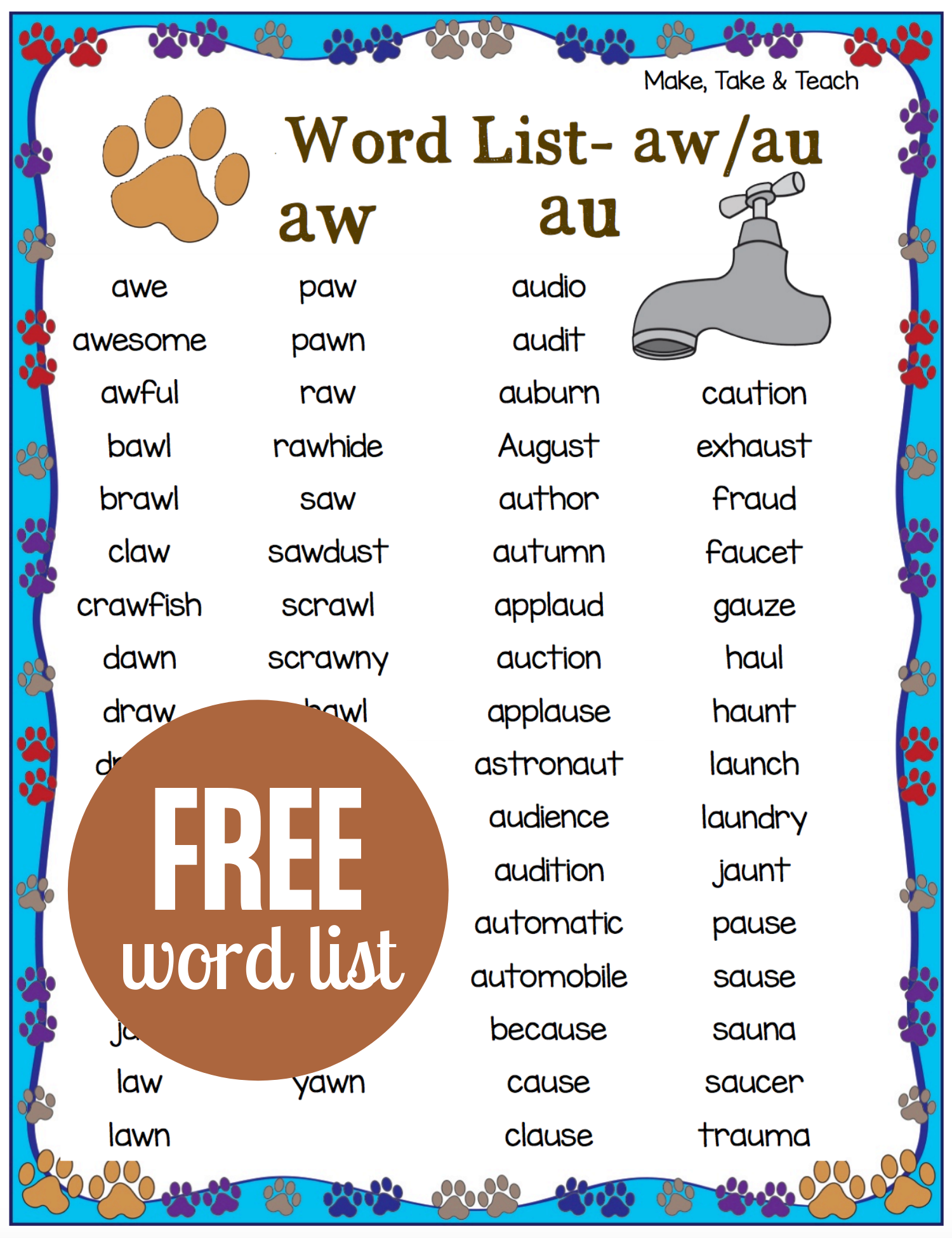 Phonics Games And Activities For The Aw Au Diphthongs In