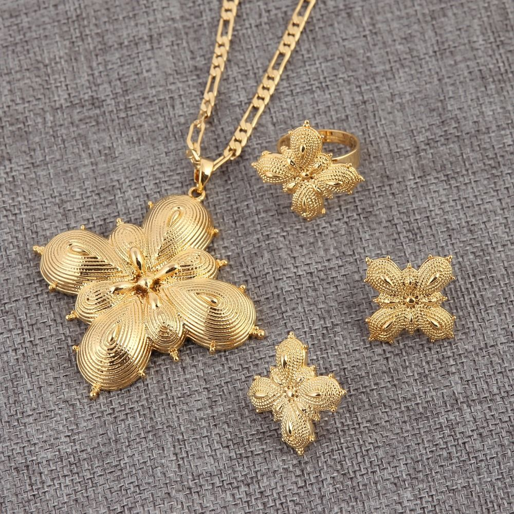 Bangrui Ethiopian Traditio Big Cross Jewelry sets Dubai gold jewelry