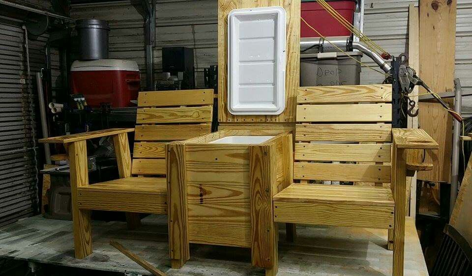 Jack Amp Jill Bench With Cooler Woodwork In 2019 Outdoor