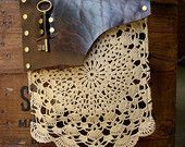 Boho Leather Festival Bag with Crochet Lace Doily and Antique Key  MADE TO ORDER  Back Pocket Style