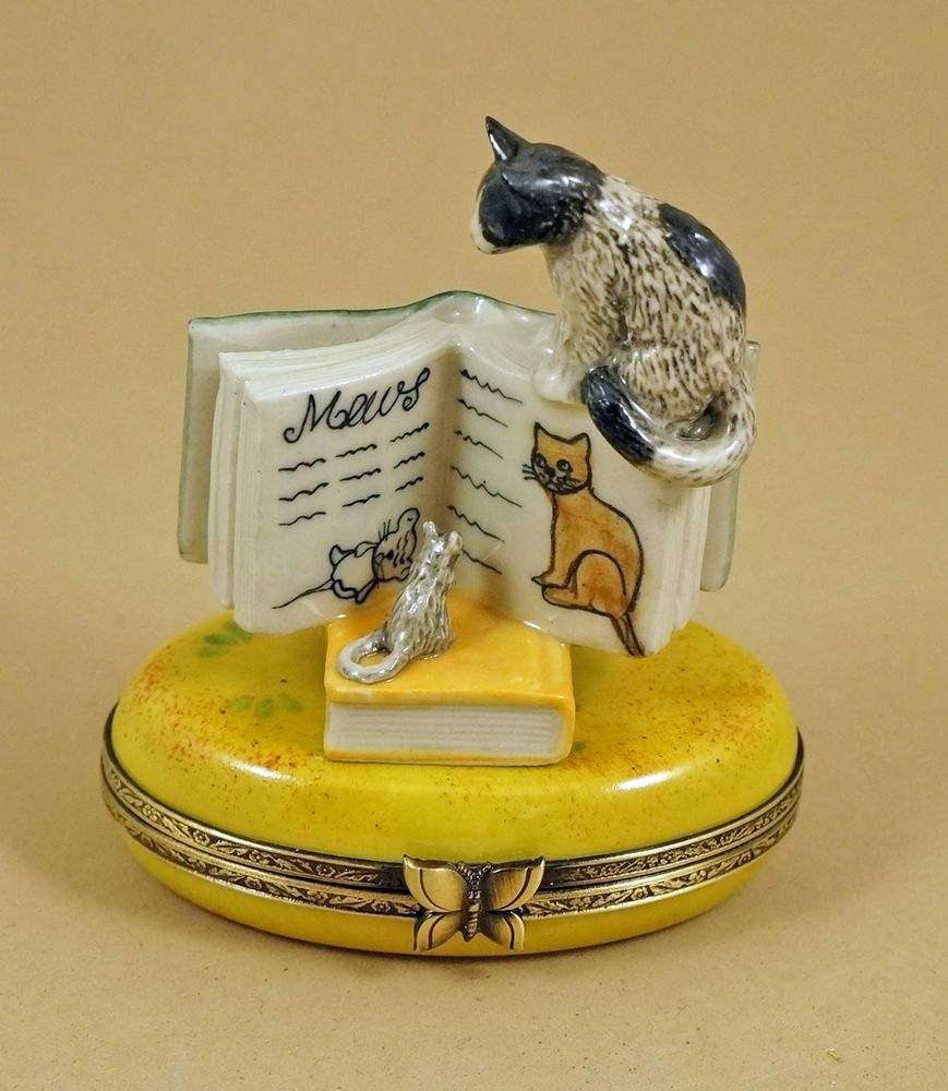 NEW FRENCH LIMOGES BOX MOUSE READING CAT BEHAVIOR BOOK & KITTY CAT KITTEN #Limogeshingedbox