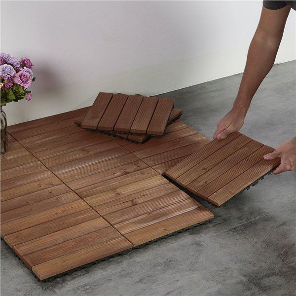 27pcs Patio Pavers Wood Flooring Tiles Interlocking Wood Tiles Indoor Outdoor 12 X 12 Walmart Com In 2020 Patio Tiles Outdoor Flooring Patio Flooring