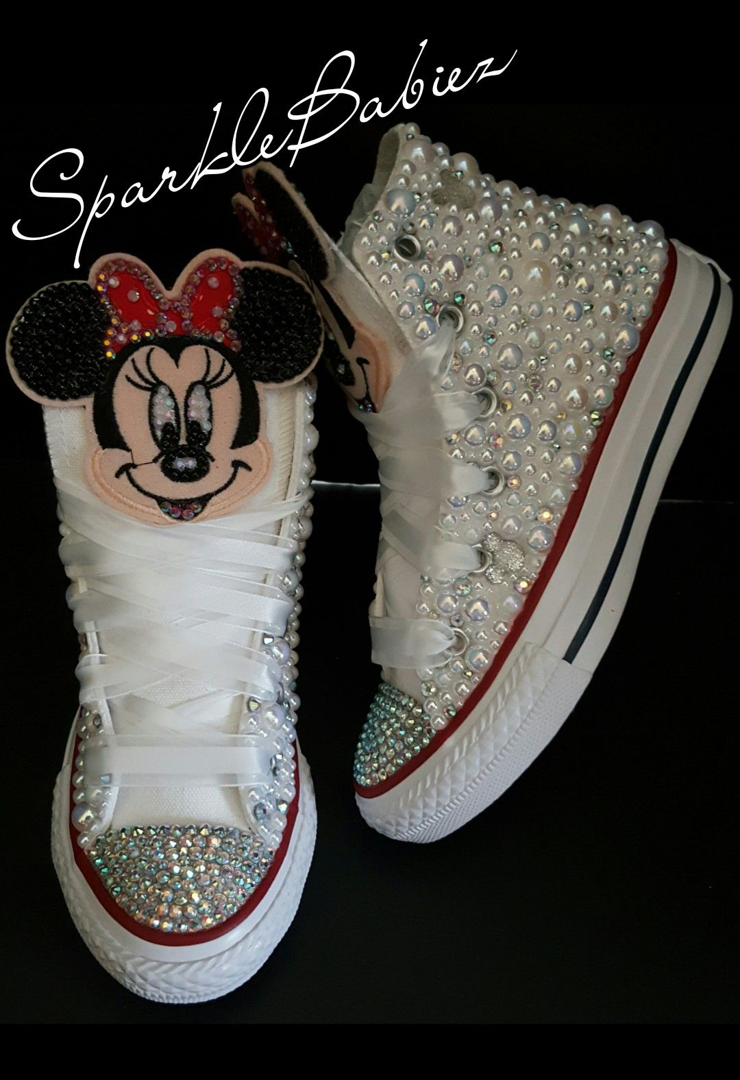 Custom Bling & Pearl Minnie Mouse Chuck Taylor Converse
