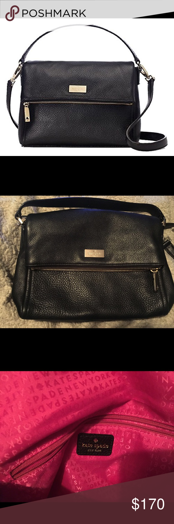 Kate Spade Highland Place Mini Maria This bag is adorable! The only thing wrong with it is a little tare on each side of the inside pockets (there is a picture included of this). The pockets are still functional. I haven't used the bag much at all and am in the process of moving and cleaning out my closet! This bag was originally $228! Feel free to make a reasonable offer :) kate spade Bags Crossbody Bags