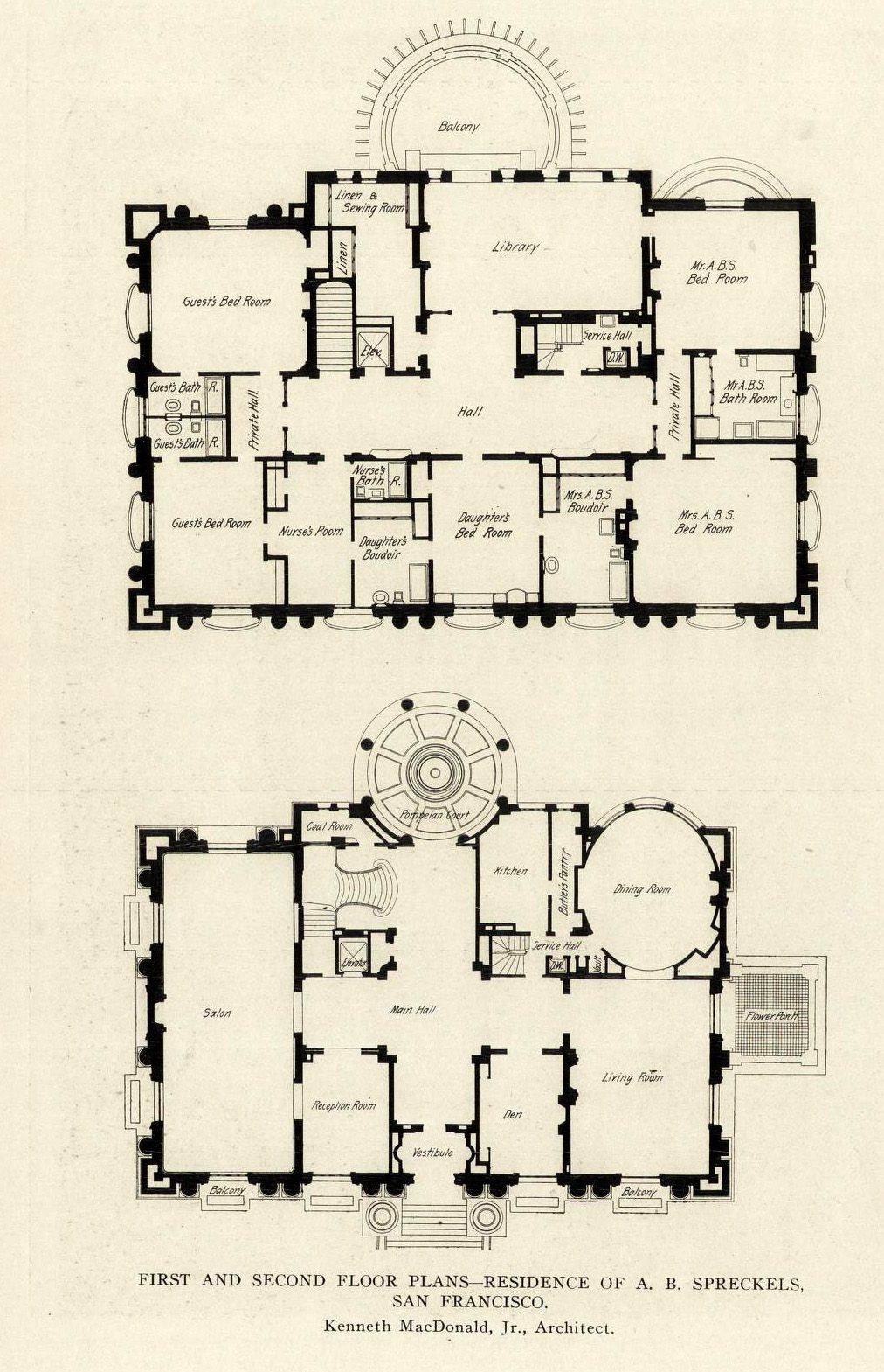 first and second floor plans of the a b spreckels mansion san