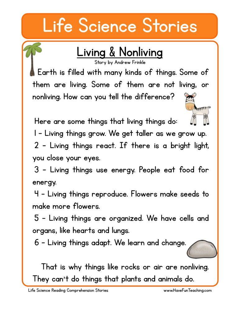 Reading Comprehension Worksheet Living & Nonliving