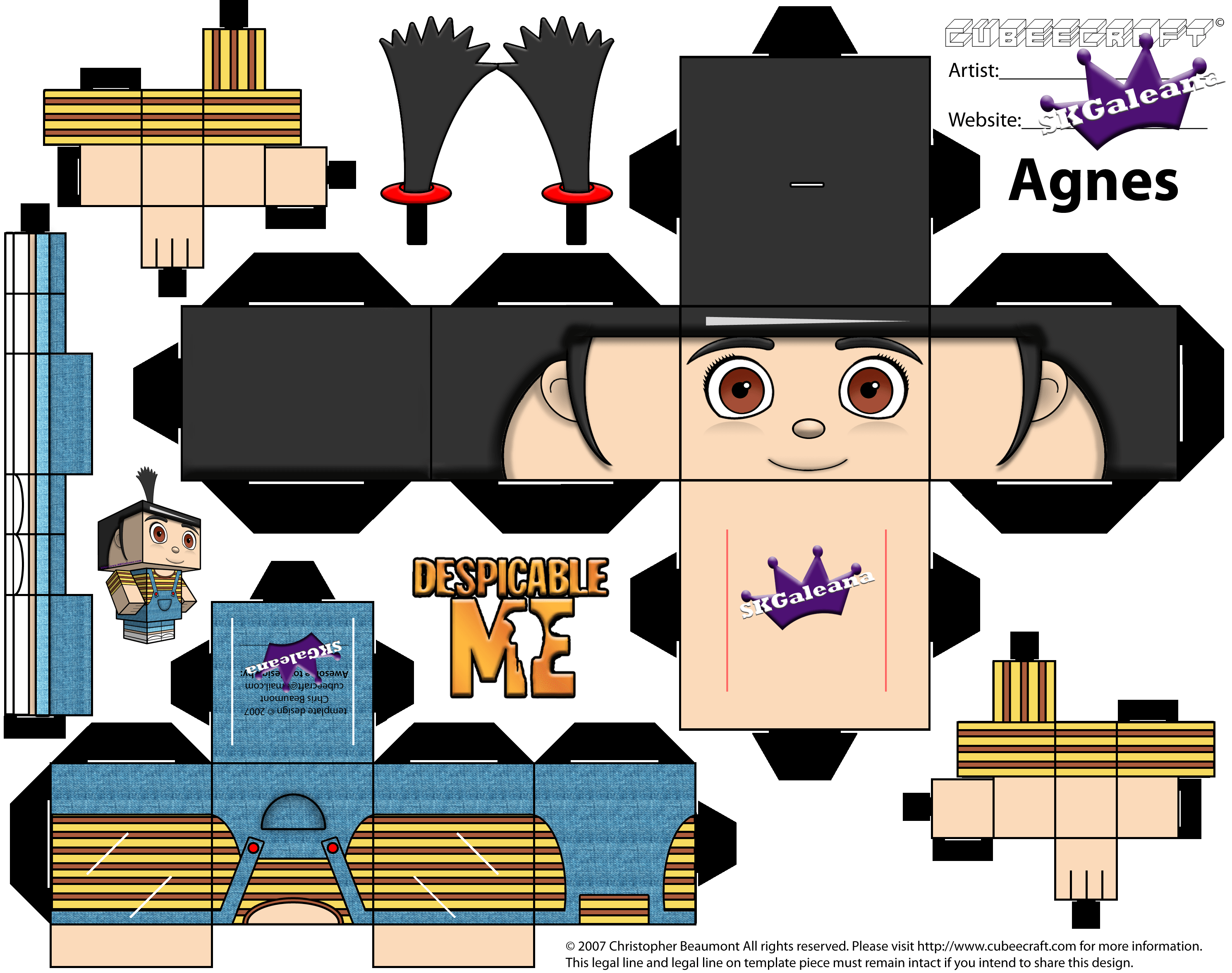 Skgaleana Free Cubeecraft Paper Craft Of Agnes From Despicable Me