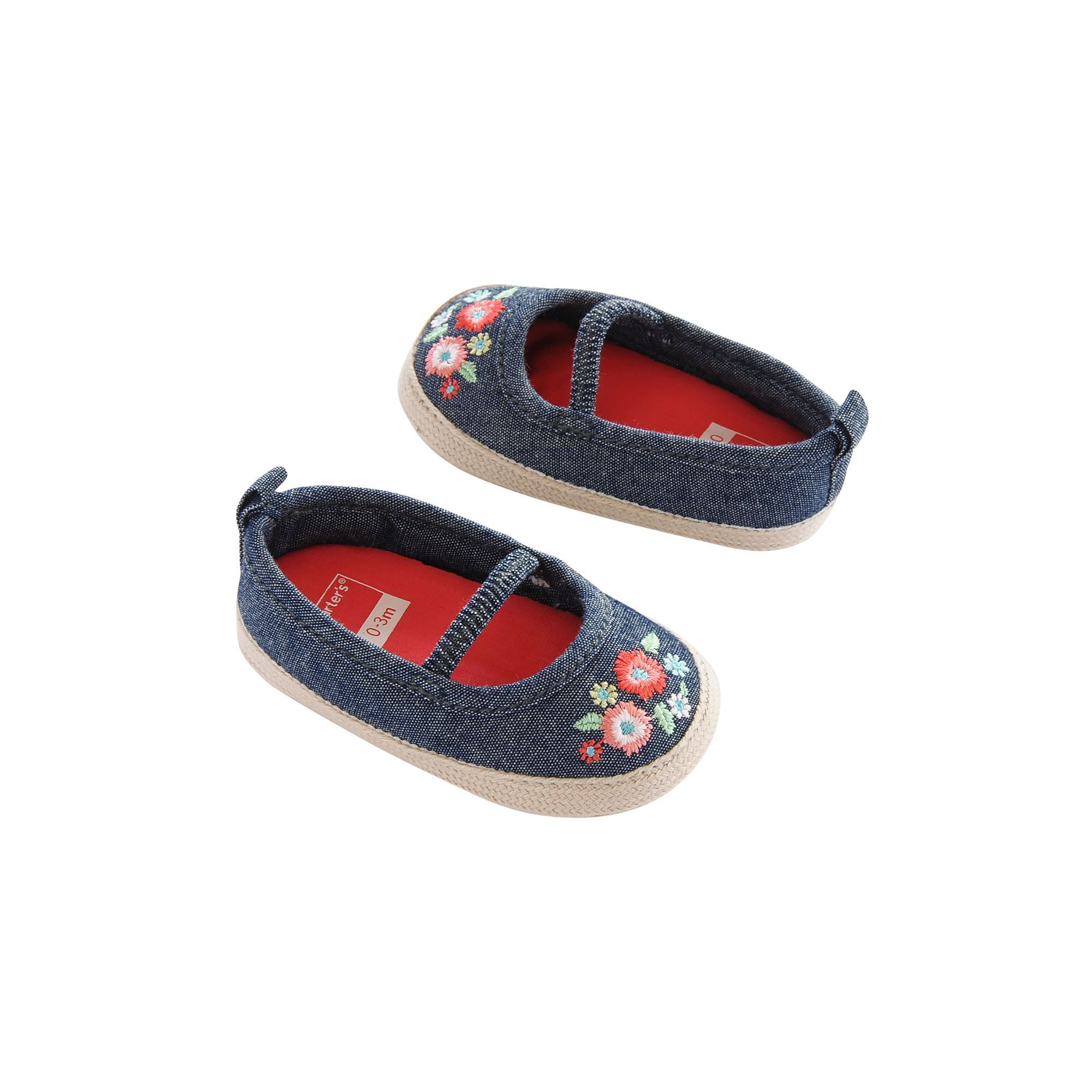 Baby Girl Carter s Embroidered Espadrille Crib Shoes Size 0 3