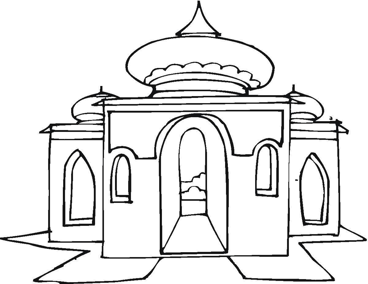 9 Mewarnai Gambar Masjid Dengan Gambar Gambar Warna Sketsa