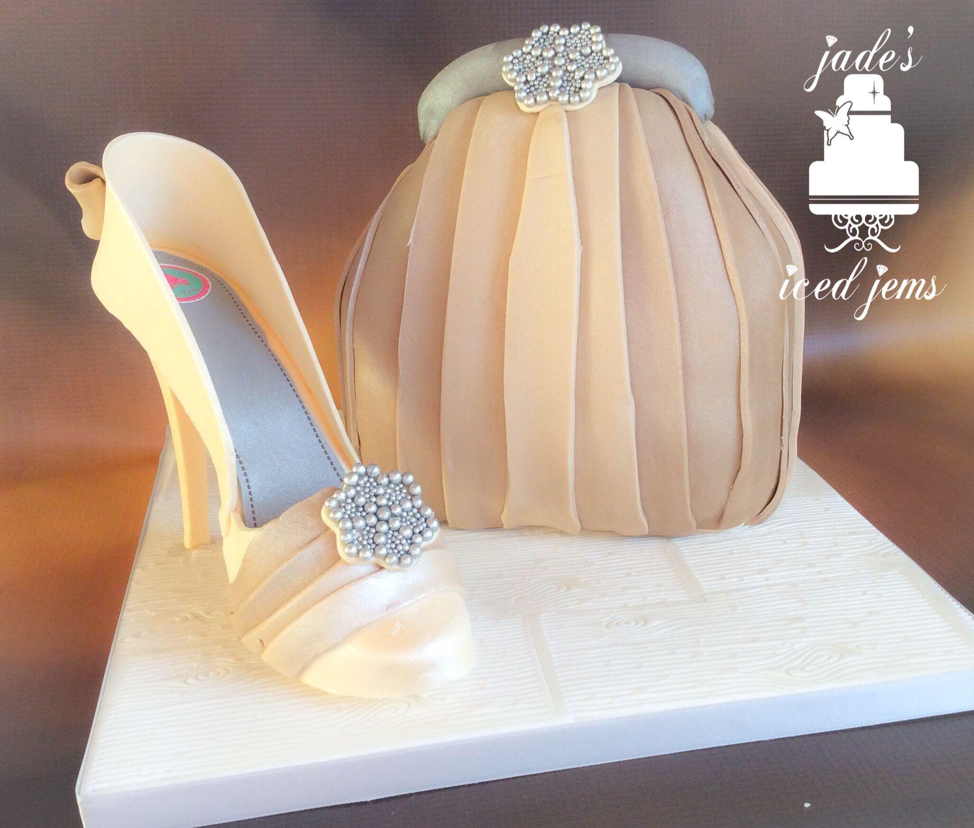 Elegant hand bag cake. Sugar shoe Classy Creams Browns
