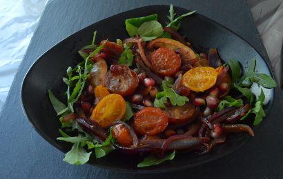 Salade aux oignons rouges et grenades