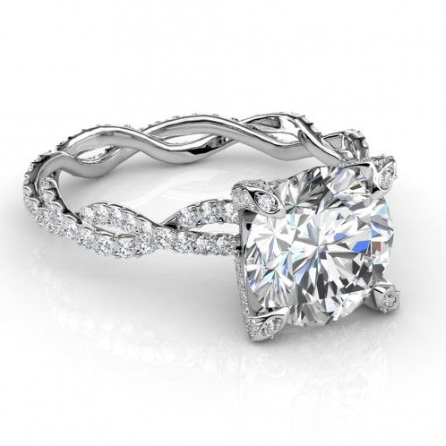 Twisted Eternity Pave Diamond Engagement Ring - might work with an oval