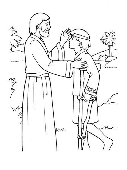 A Black And White Illustration Of Jesus Christ Healing A Young Boy
