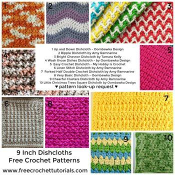 10 Free Patterns for 9-Inch Square Crochet Dishcloths ...