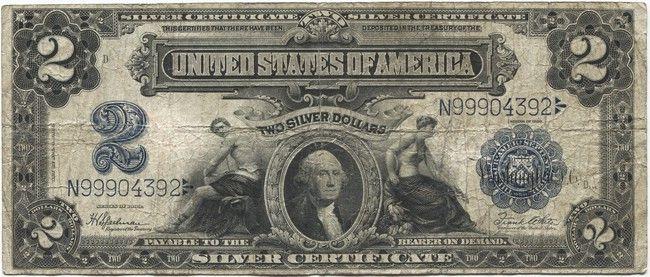 2 Dollars 1899 Washington Silver Certificate Geld Geldscheine Scheine