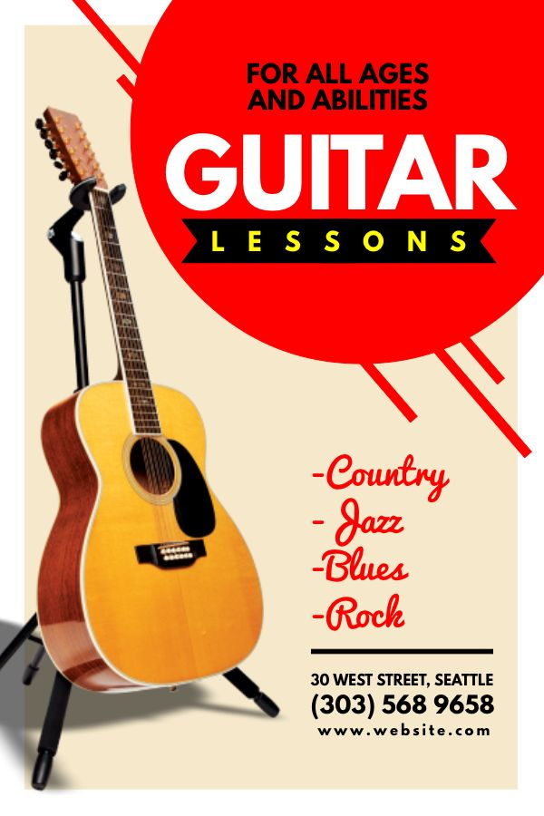 guitar lesson advertisement flyer design