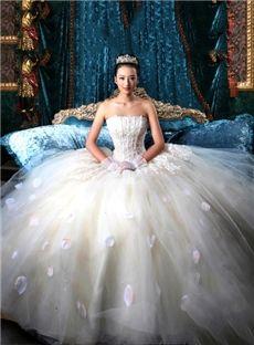 ロマンチックストラップレスの床の長さの夜会服のウェディングドレス