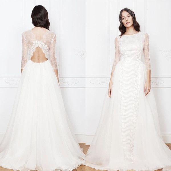 Cheap 2017 Vintage Beach Wedding Dresses A Line High Neck Long ...