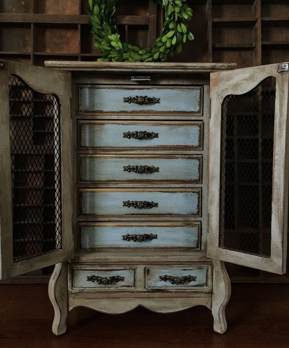 Farmhouse Jewelry Armoire : farmhouse, jewelry, armoire, Reserved, Vintage, French, Provincial, Jewelry, Armoire,, Upcycled, Painted, Farmhouse, Boxes,, Armoire