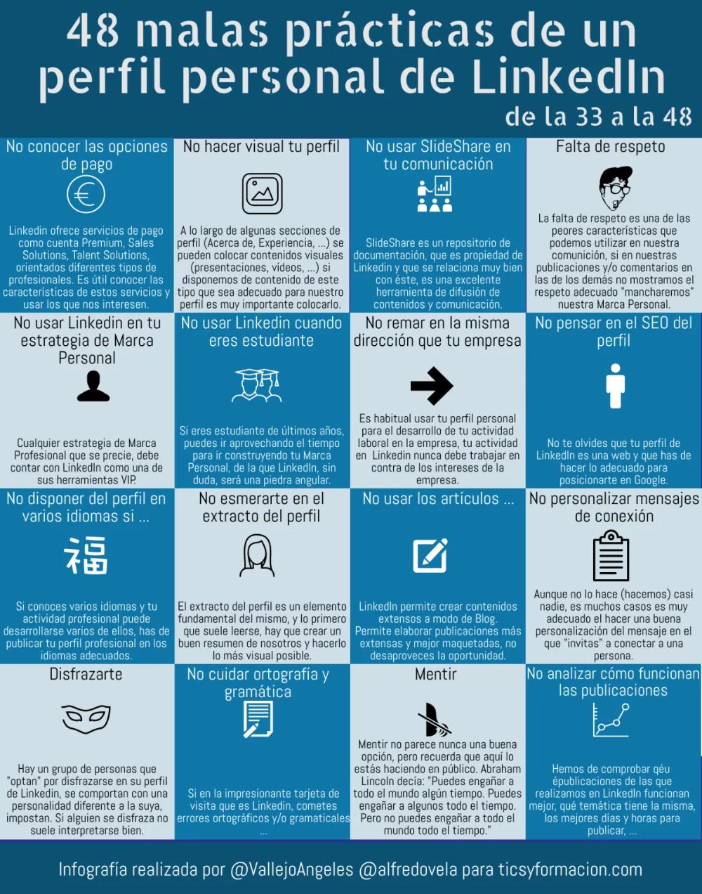 48 Malas Prácticas De Un Perfil Personal En Linkedin De La 33 A La 48 Infografia Infographic Socialmedia T Consejos Para Redes Sociales Datos Infografia