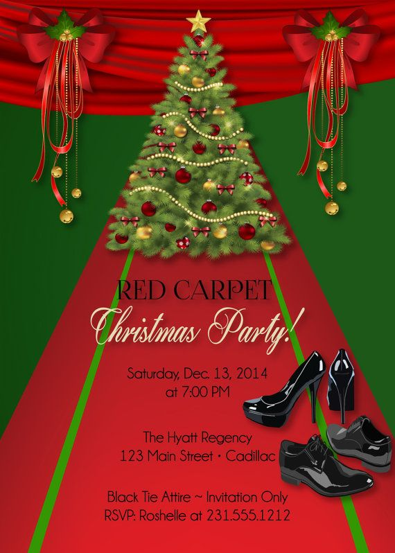 Custom Christmas Invitation Red Carpet Holiday By Fa Cards All