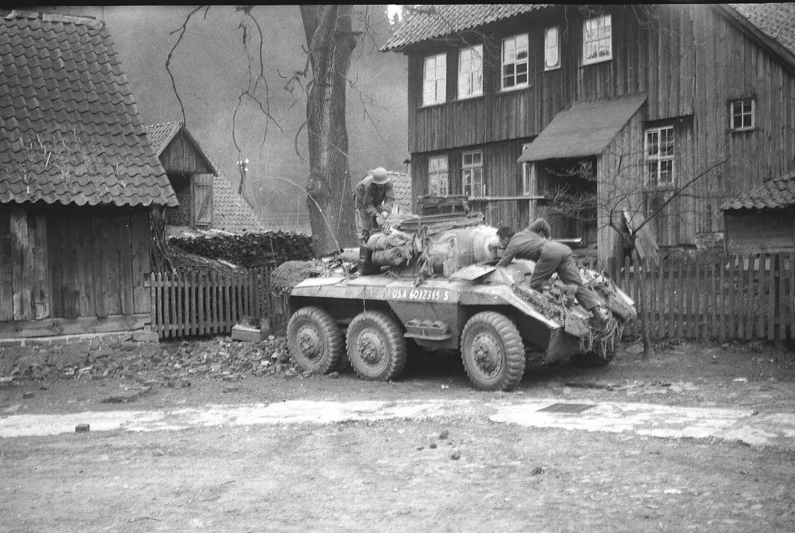 https://flic.kr/p/rWafeb | An M8 armoured car of the 4th Cavalry Reconnaissance Squadron, Germany 1945.