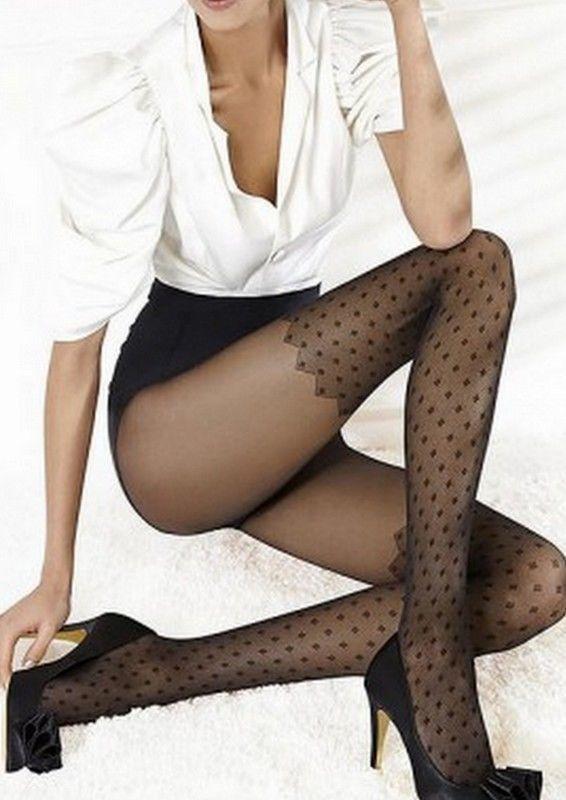 "Collant noir Effet Bas Fantaisie Femme Sexy Gatta  ""Fancy 05""  Neuf"