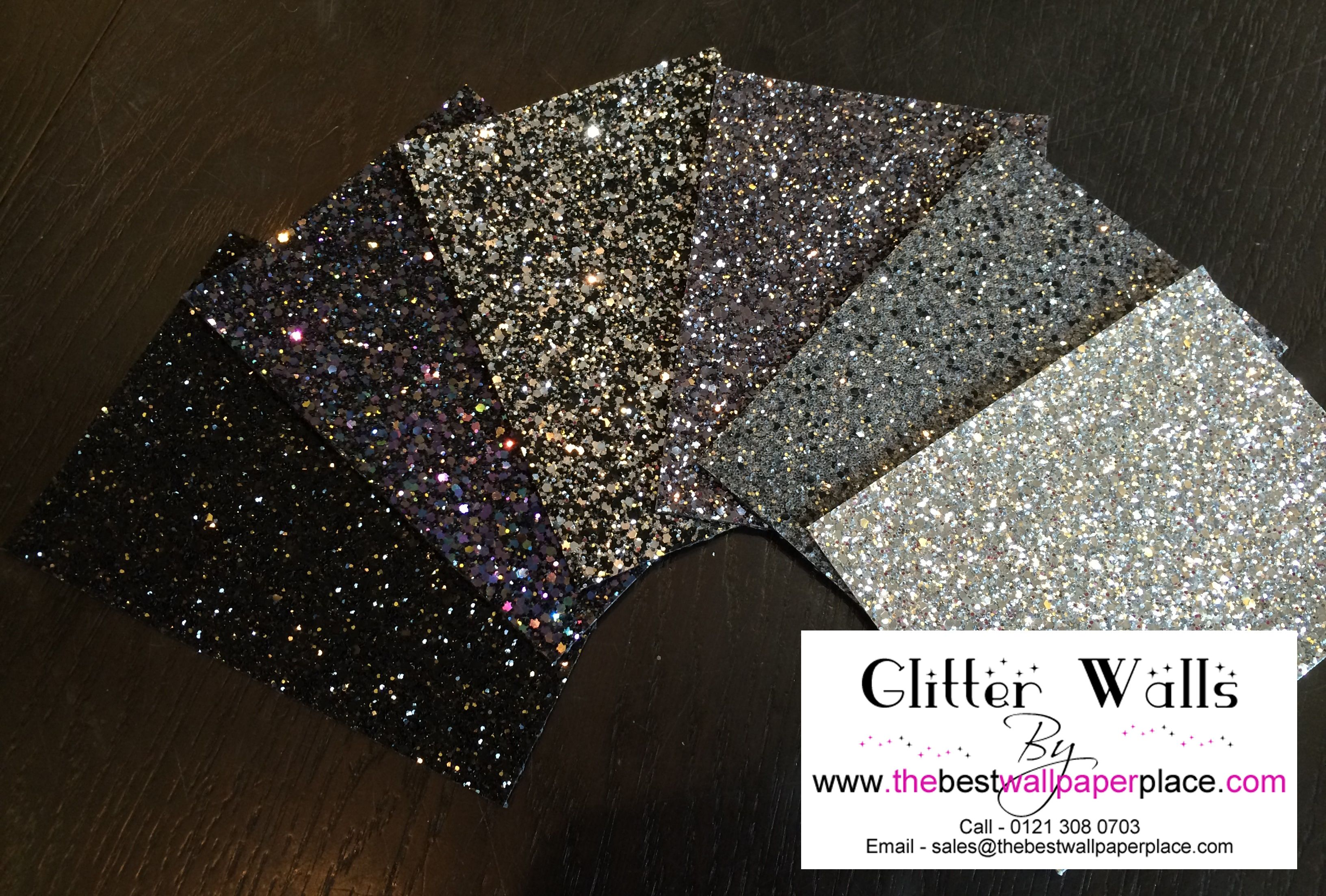 Our shades of black glitterwallcovering. Glitter room