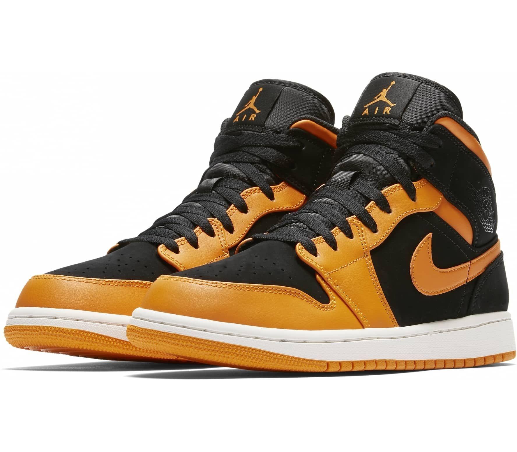 Jordan - Air Jordan 1 Mid heren sneakers (zwart/oranje ...