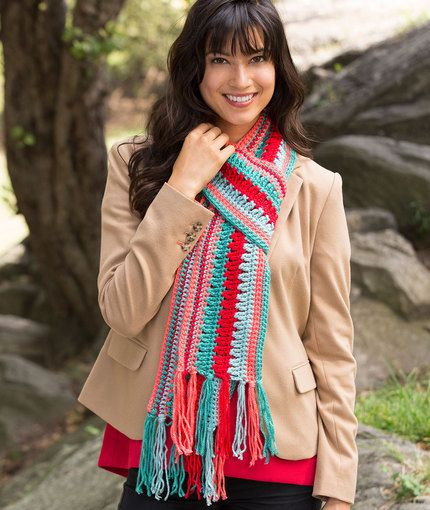 Bright Stripes Scarf Free Crochet Pattern in rEd Heart Yarns   Now ...