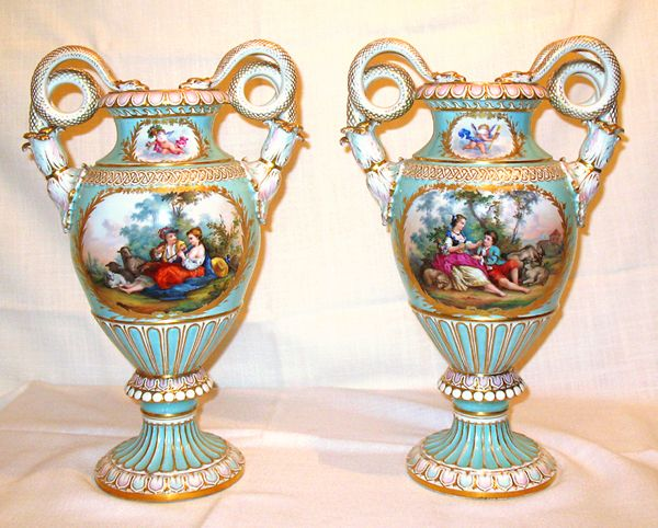 Meissen Vases With Boucher Scenes On One Side And Flowers On The