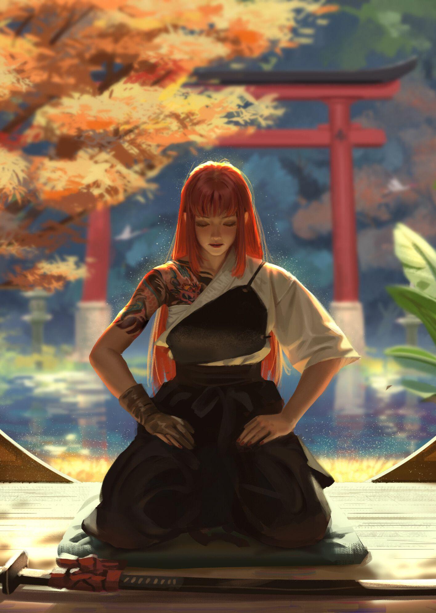 "ArtStation ""姬和子传"" 憩,侯中国 Samurai art, Anime redhead"