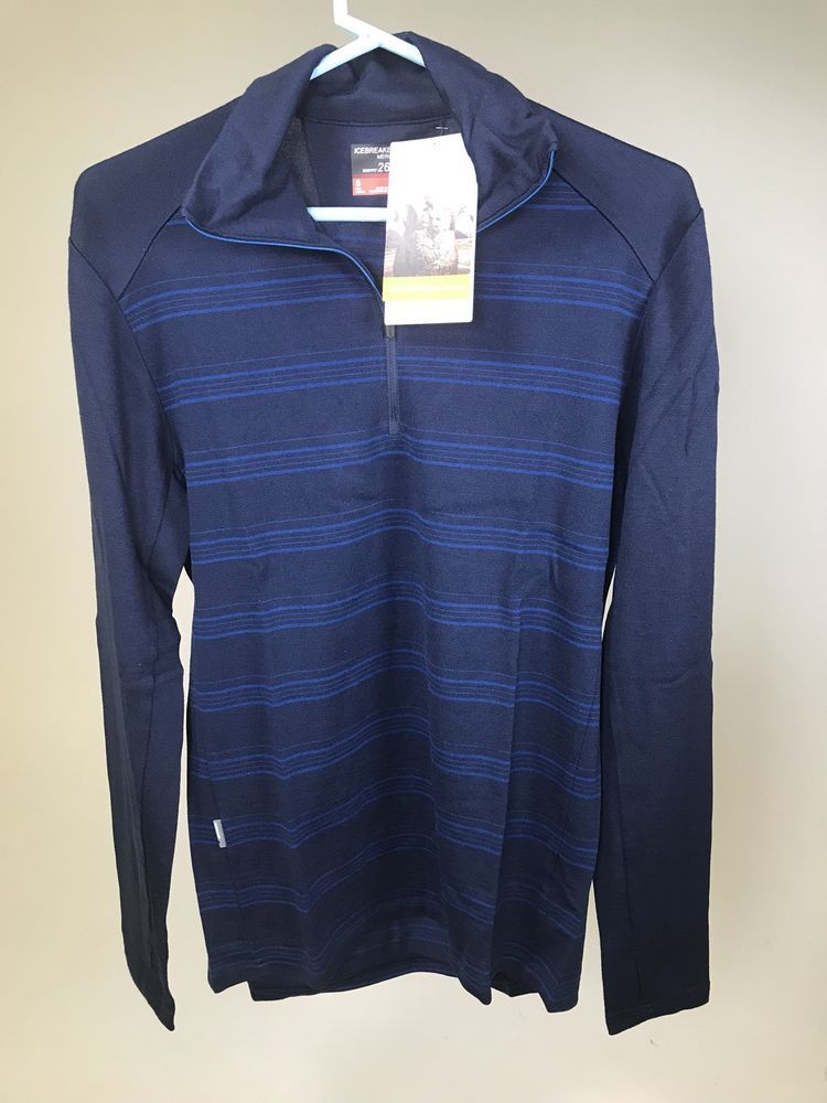 c68ce261ee2 ICEBREAKER Men s TECH TOP 260 Merino Wool LS Crew Shirt - BLUE- SMALL - NEW