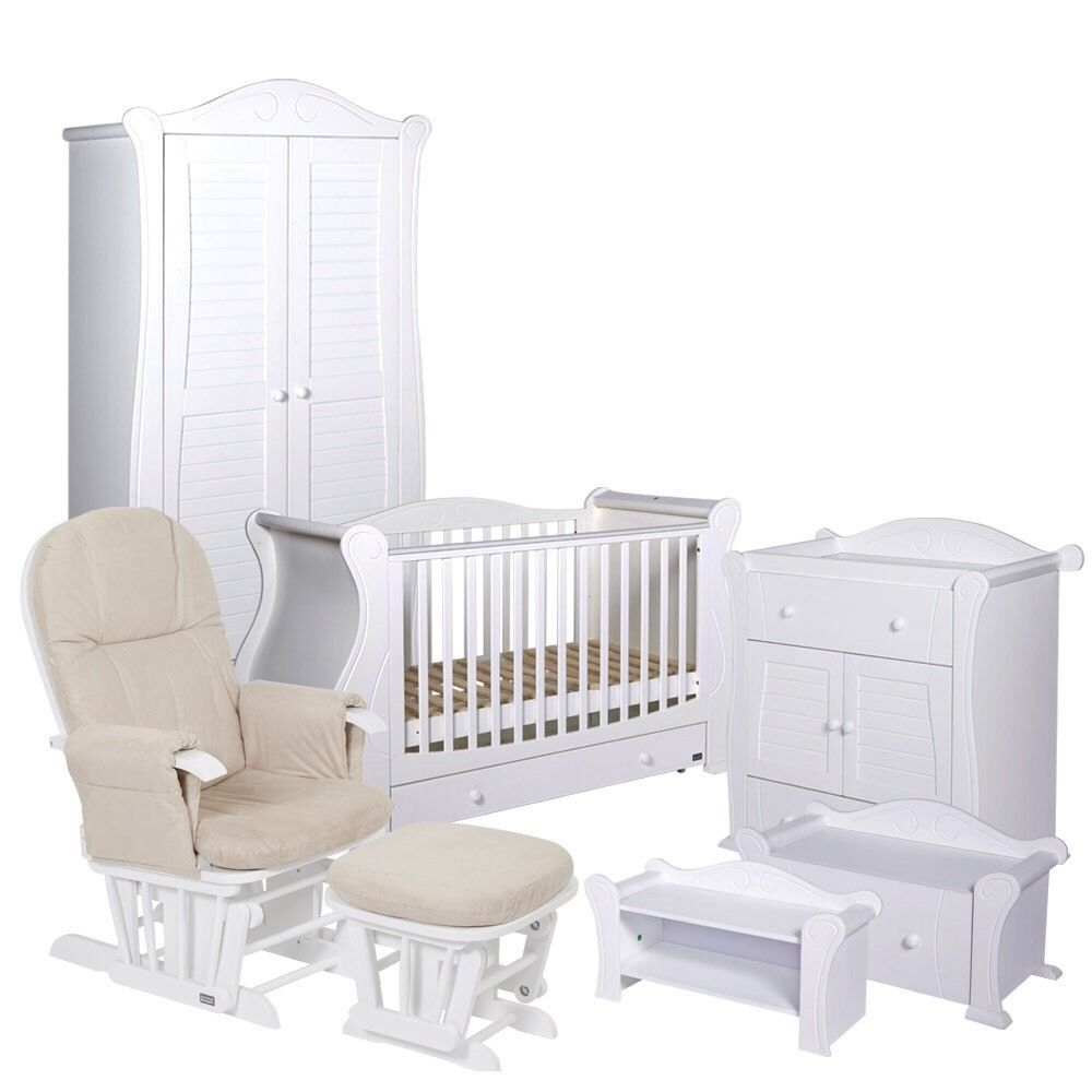 TUTTI Bambini 2 Piece Marie Room Set White Cot Bed Chest Changer ...