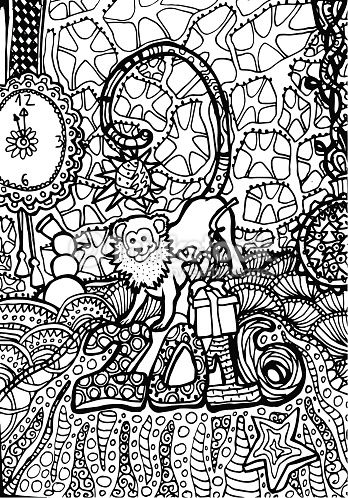 a cute monkey on new years party coloring page monkey coloring