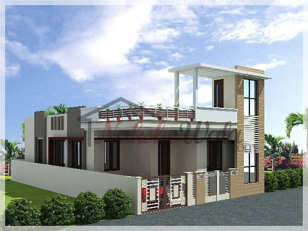 5069simplex house front elevation house elevation for Indian house front elevation photos for single house