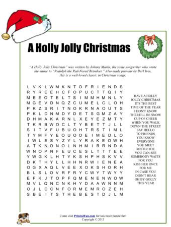 A Holly Jolly Christmas Word Search | Christmas | Pinterest