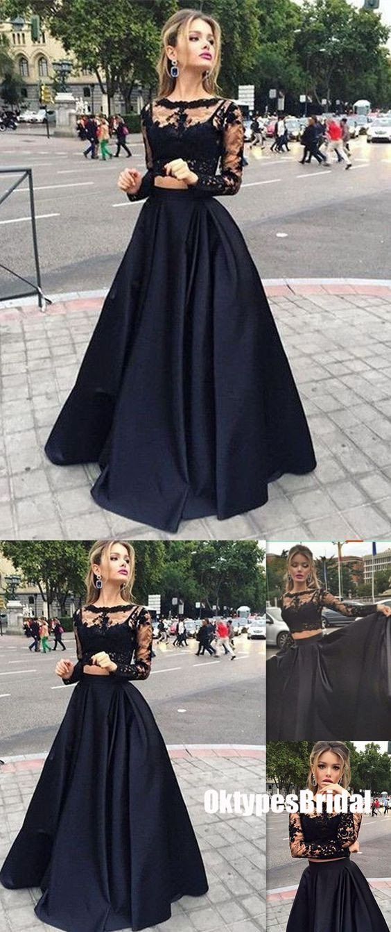 Black prom dresses two piece top lace cheap typ also rh pinterest