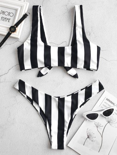 Photo of ZAFUL Knot Striped Bikini Set