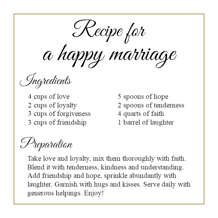 Recipe For A Happy Marriage :)