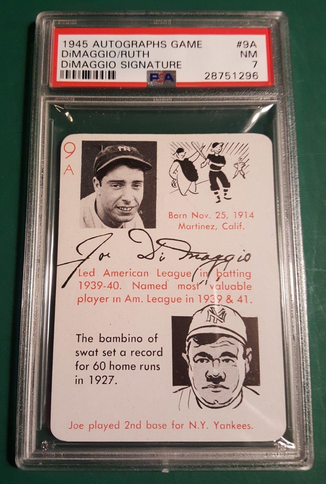 1945 joe dimaggio babe ruth leisters autograph game card